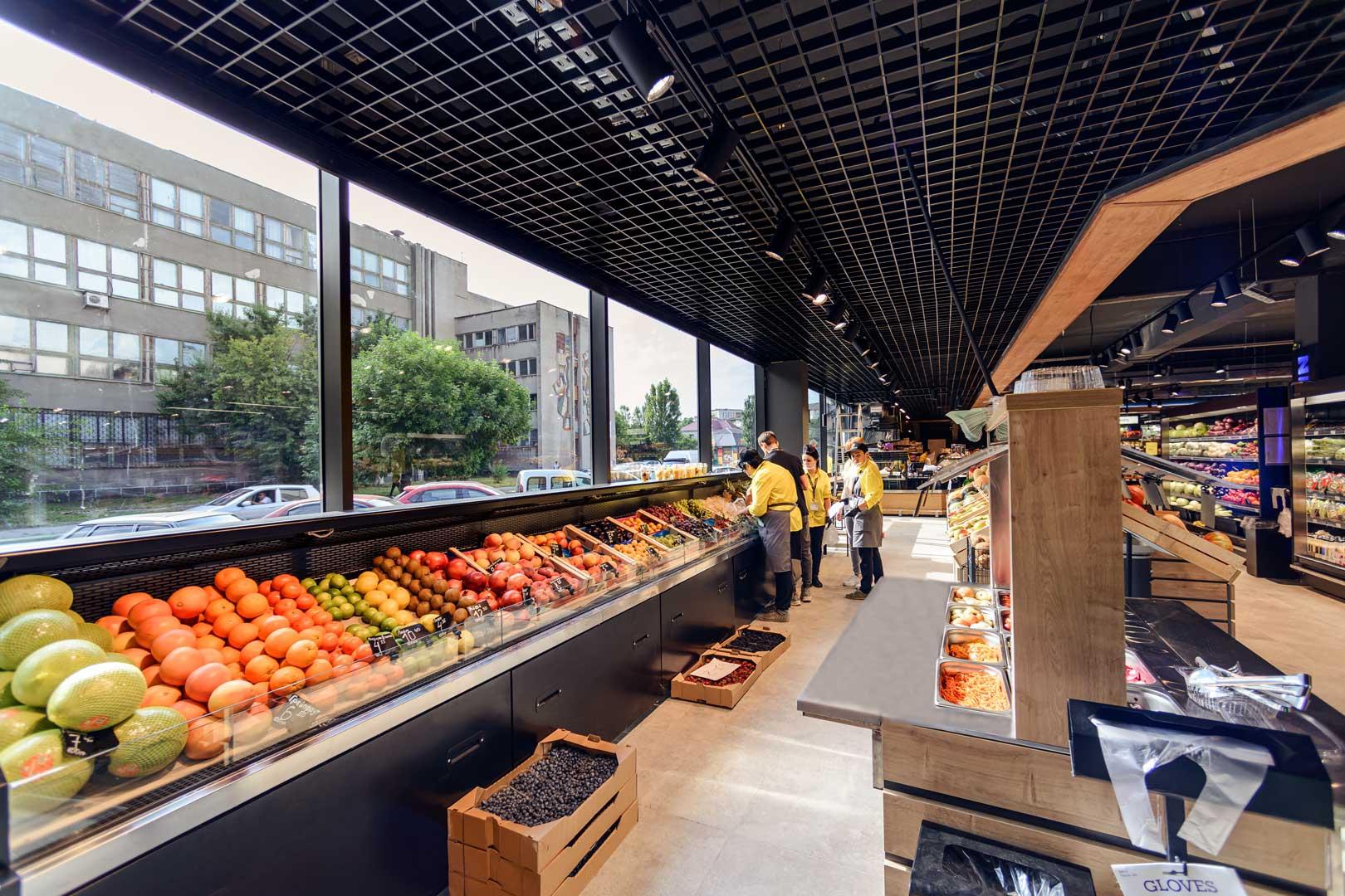 """Специализированные витрины для продажи овощей и фруктов «Missouri VF MC 090 VF self 125-DBM», супермаркет """"Зеркальный"""" в Бердянске"""