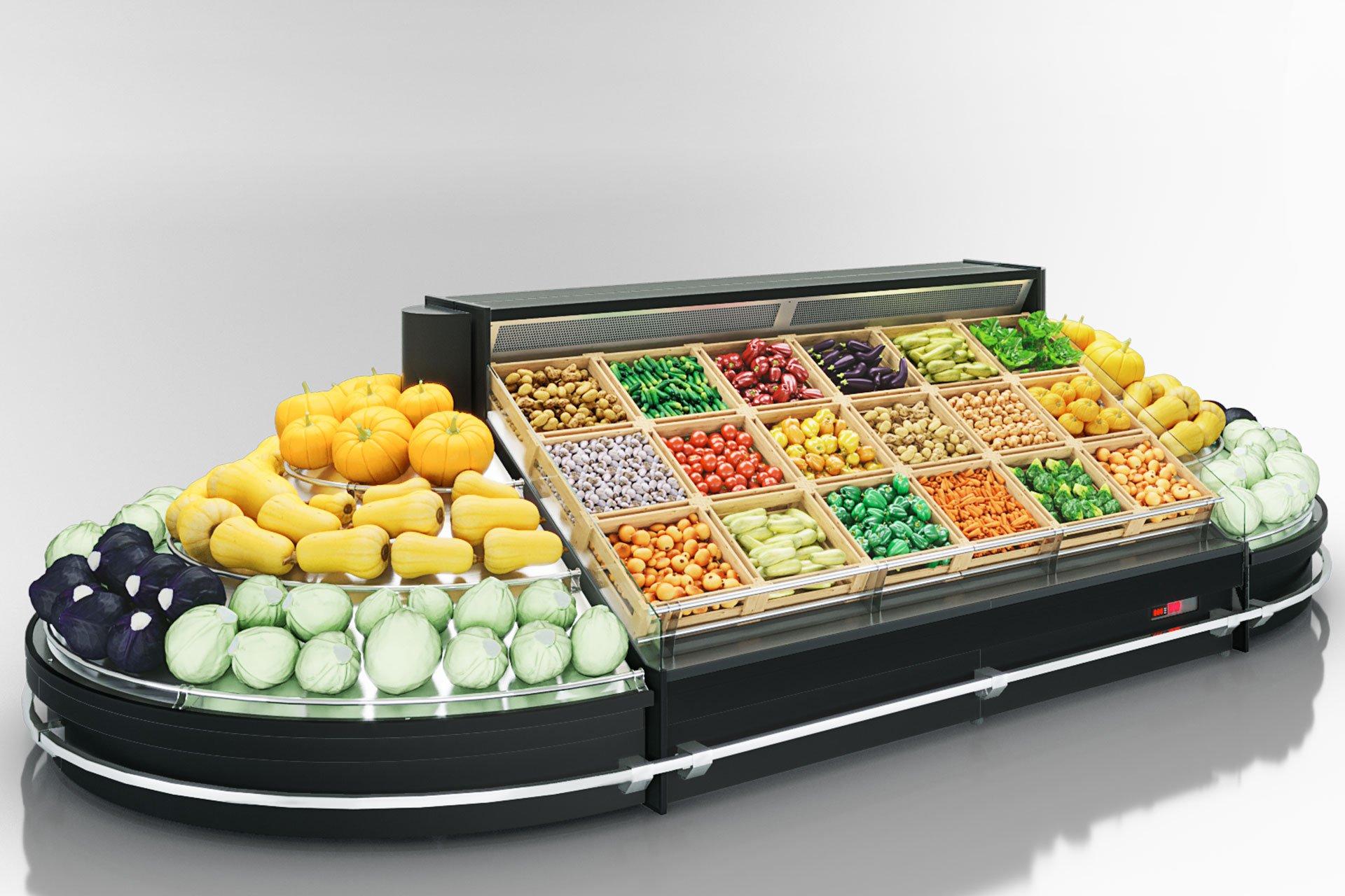 Специализированные витрины для продажи овощей и фруктов Indiana VF MC 130 VF self 140-DLM