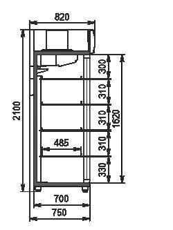 Холодильные шкафы Kansas 5 VA1SG 070 HT SD 210-D1200A-132