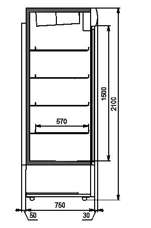 Холодильные шкафы Kansas 1200 AV 075 HT DS 210-SLA