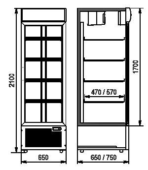 Холодильные шкафы Kansas A1SG 065/075 MT/HT 1HD 210-D500/D600A-065