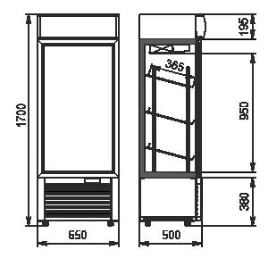 Холодильні шафи Kansas A1SG 050 MT 1HD 170-D200A-065