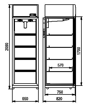 Холодильні шафи Kansas VА1SG 065/075 MT/HT 1HD 210-D500/D600A-065 (option)