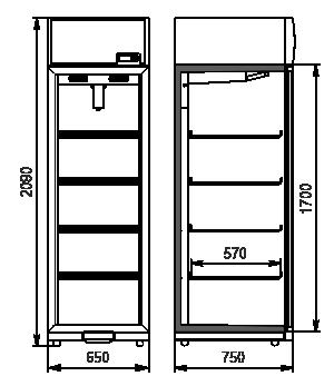 Холодильні шафи Kansas VА1SG 065/075 MT/HT 1HD 210-D500/D600A-065
