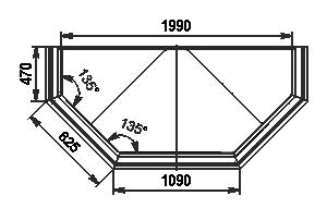 Вітрина Missouri VF AC 110 VF self 125-DBA (торцевий неохолоджуваний модуль)