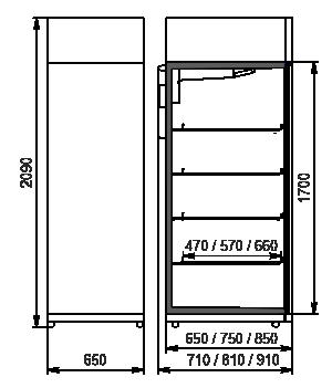 Refrigerated cabinets Kansas VАZG 065/075/085 MT/HT 1HD 210-D500/D600/D700A-065 (option)