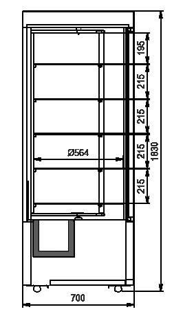 Schränke für Konditorei Kansas А4SG 070 patisserie R 1HD 180-D500A-070