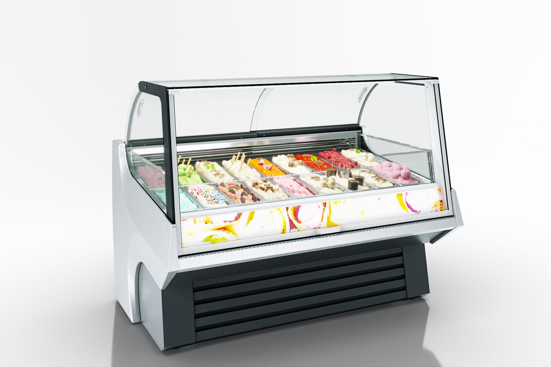 Spezielle Speiseeisvitrinen für den Verkauf von Weichspeiseeis Tennessee AC 110 ice cream PS 172-DLA