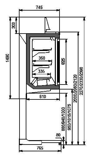 Vitrinen für Gefriergüter Kansas HLT VA AV 077 LT D 239-DLA