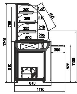 Konditorei-Vitrinen Dakota GA 085 patisserie self SL 180-DLA