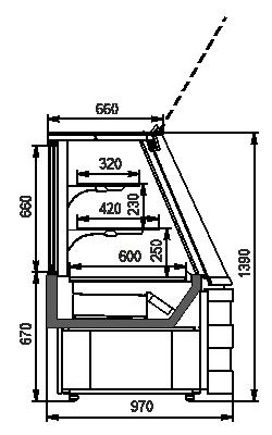 Konditorei-Vitrinen Dakota sapphire KA 090 patisserie PS 140-DLA-ER35 - Winkelelement (option)