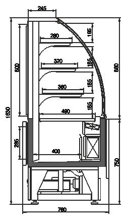 Konditorei-Vitrinen Dakota snack AG 080 patisserie OS 160-DBA