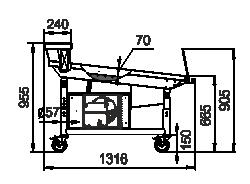 Präsentationsvitrinen Virginia AK 132 ice self 095-SLA mit einer gekühlten Anzeigefläche und einem zusätzlichen Verdampfer unter der Arbeitsfläche