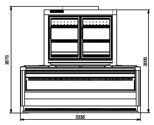 Вітрини для заморожених продуктів торцевий модуль Alaska combi 2 MD MHV 110 LT D/C 200-DLM