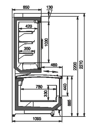 Витрины для замороженных продуктов Alaska combi 2 MD MHV 110 LT D/C 220-DLM