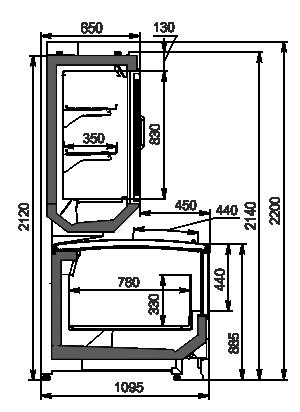 Вітрини для заморожених продуктів Alaska combi 2 SD MHV 110 LT D/C 220-DLM