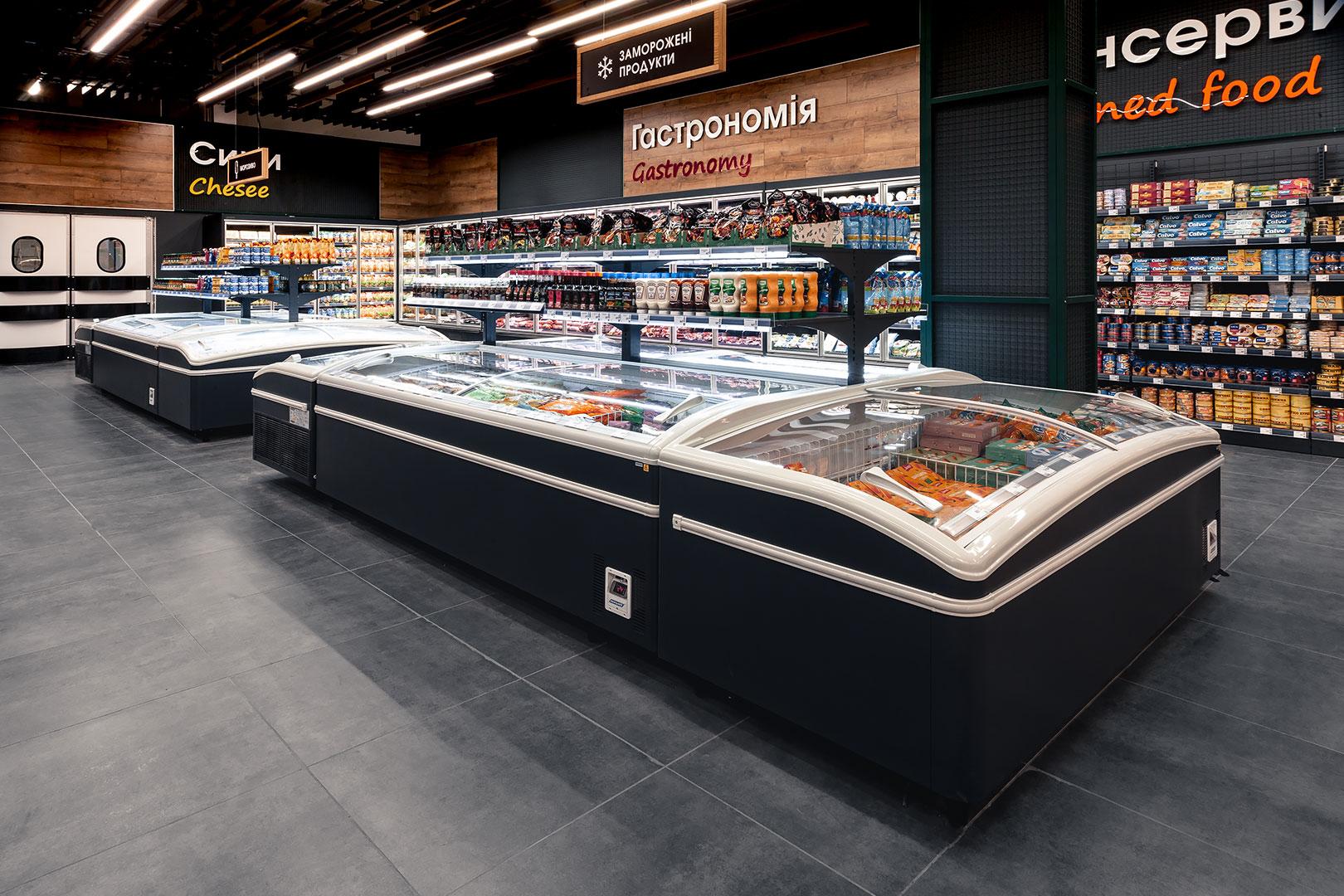 """Vitrinen für Gefriergüter Super AH 092 LT C A im Supermarkt """"Epicentr"""""""
