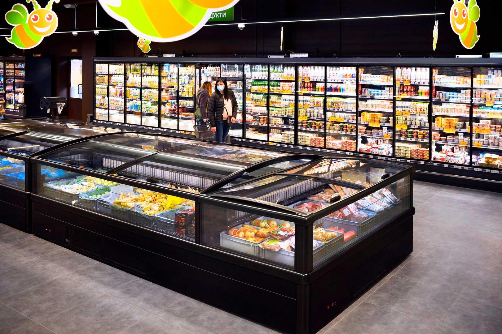 """Вітрина для заморожених продуктів Yukon AH 200 LT C 100-SLA, супермаркет """"Пчелка-маркет"""""""
