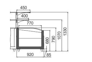 Vitrinen für Gefriergüter Super AH 092 LT C 079-SLA stirnseitig Modul mit Überbau
