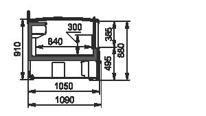 Vitrinen für Gefriergüter Alaska DE AH 160/200 LT C 100-SLA-TL - stirnseitig Modul