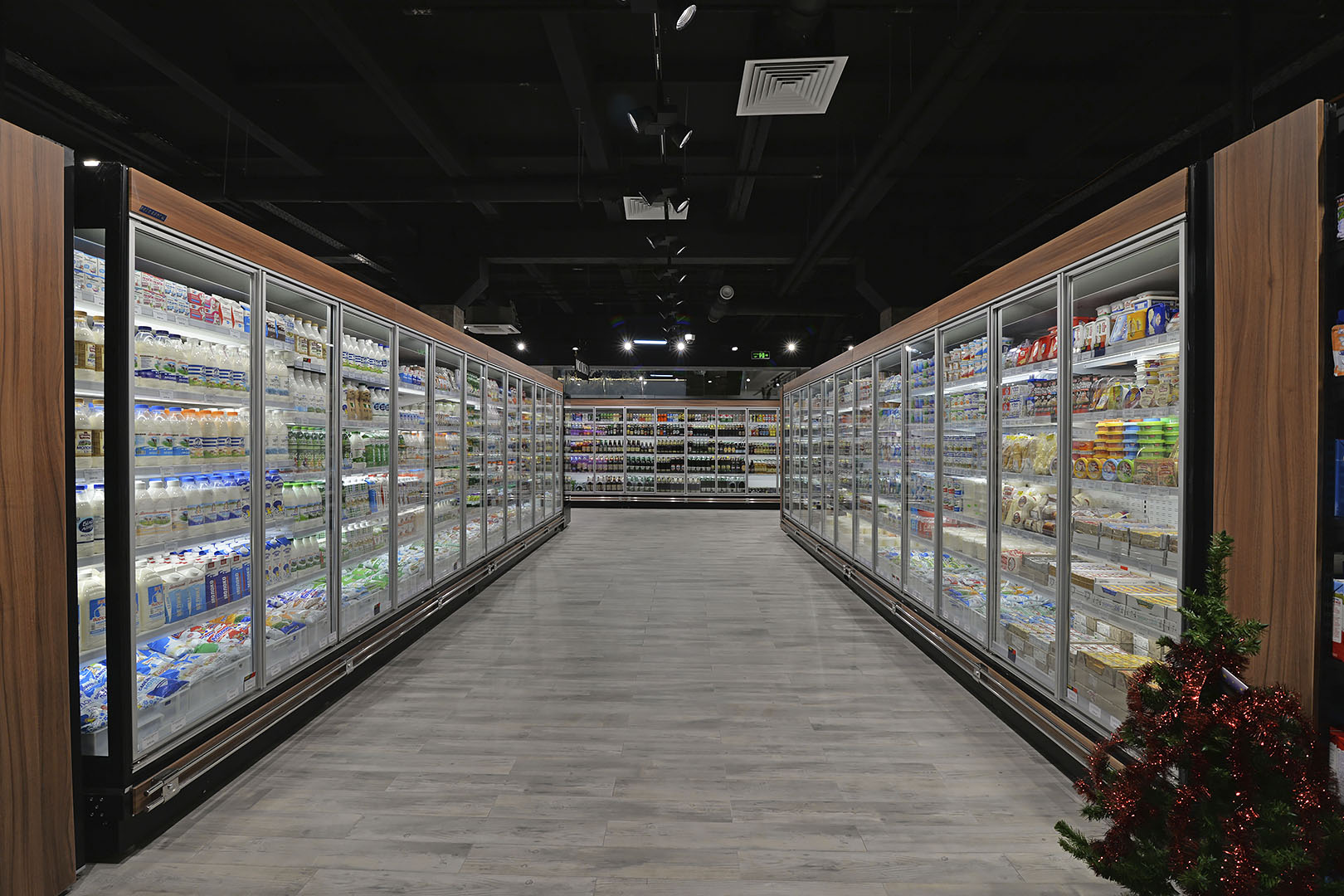 "Tiefkühlwandvitrinen ""Louisiana MV 095/105/115 MT D M"" im Supermarkt ""Dmart"""