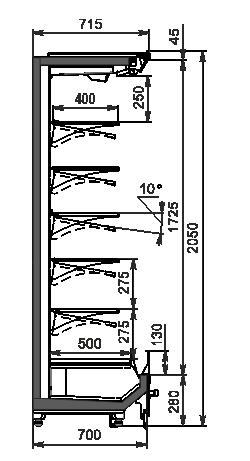 Холодильні пристінні вітрини Indiana 2 MV 070 MT O 205-DLM