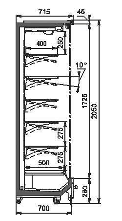 Холодильні пристінні вітрини Indiana 2 MV 070 MT D 205-DLM (розсувні/розпашні двері)