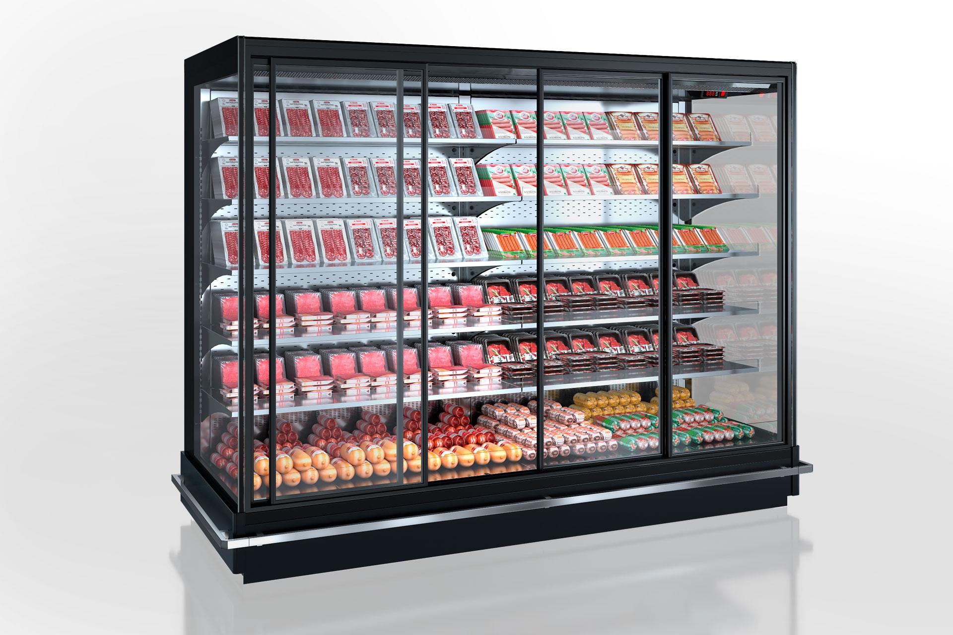 Холодильні пристінні вітрини Indiana 2 MV 070/080/090 MT D 205-DLM (розсувні двері)
