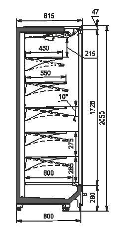 Холодильні пристінні вітрини Indiana 2 MV 080 MT D 205-DLM (розсувні/розпашні двері)