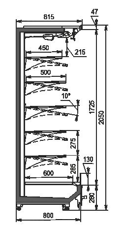 Холодильні пристінні вітрини Indiana 2 MV 080 MT O 205-DLM