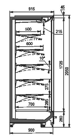Холодильні пристінні вітрини Indiana 2 MV 090 MT D 205-DLM (розсувні/розпашні двері)