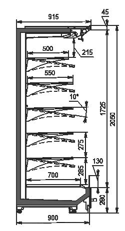 Холодильні пристінні вітрини Indiana 2 MV 090 MT O 205-DLM