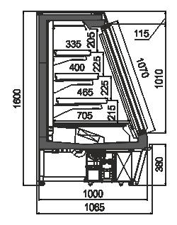 Полувертикальные витрины Indiana eco ASV 100 LT D 160-DLA