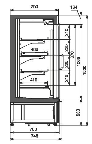 Холодильные полувертикальные витрины Indiana eco AV 070 LT D 160-DLM/DLA