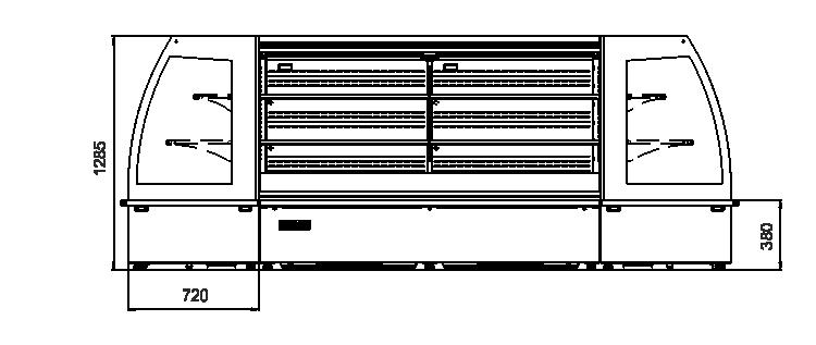 холодильні вітрини напіввертикальні вітрини Indiana eco MSV 070 MT O M