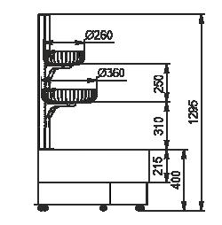 Напіввертикальні вітрини Indiana eco NSV 070 O 130-ES-90 - лівий кутовий елемент
