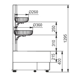 Halbhohe Wandkühlregale Indiana eco NSV 070 O 130-ES-90 - links Winkelelement