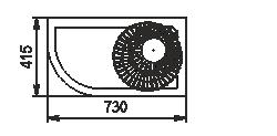 Halbhohe Wandkühlregale Indiana eco NSV 070 O 130-ES-90 - rechts Winkelelement
