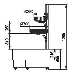 Полувертикальная витрина Indiana eco NSV 070 O 130-ES-90 - правый угловой элемент
