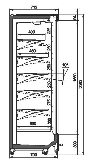 Пристенные витрины Indiana MV 070 MT D 205-DLM