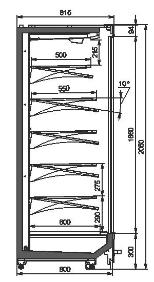 Пристенные витрины Indiana MV 080 MT D 205-DLM