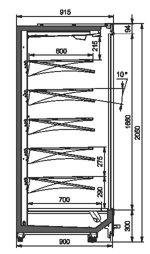 Пристенные витриныIndiana MV 090 MT D 205-DLM