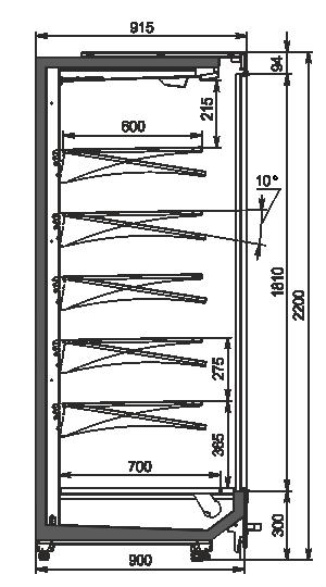 Пристенные витрины Indiana MV 090 MT D 220-DLM