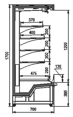 Halbhohe Wandkühlregale Indiana eco medium ASV 070 MT O 170-DLM/DLA