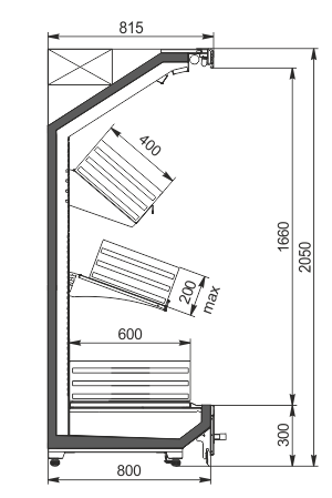 Пристенные витрины Indiana MV A 080 VF O A 205