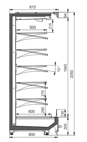 Пристенные витрины Indiana MV 080 MT O 205-DLM
