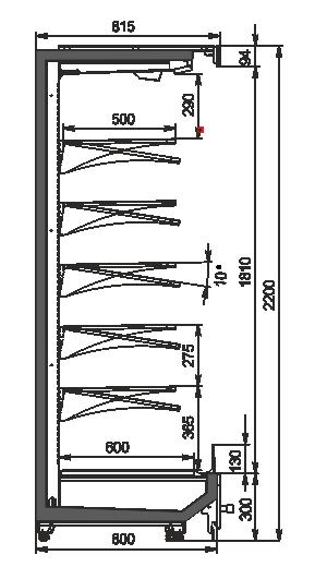 Пристенные витрины Indiana MV 080 MT O 220-DLM