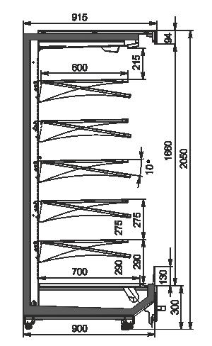 Пристенные витрины Indiana MV 090 MT O 205-DLM