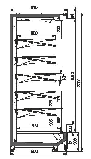 Пристенные витрины Indiana MV 090 MT O 220-DLM