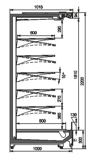 Пристінні вітрини Indiana MV 100 MT O 220-DLM